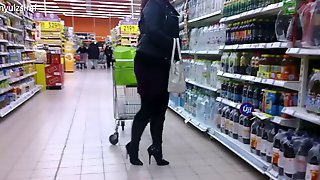 Wife went shopping in fashionable high heels..