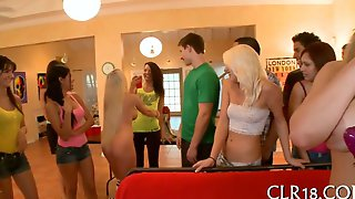 Big tits babe gets boned in a college orgy