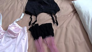 Lingerie loving crossdresser jerks off