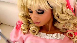 Insatiable blond haired cinderella in pink dress..