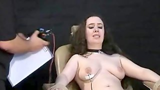 Electro tortured bbw in harsh stool bondage and..